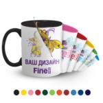 Печать на цветной чашке классик