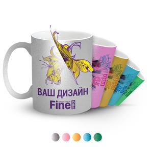 Печать на перламутровых чашках разных цветов