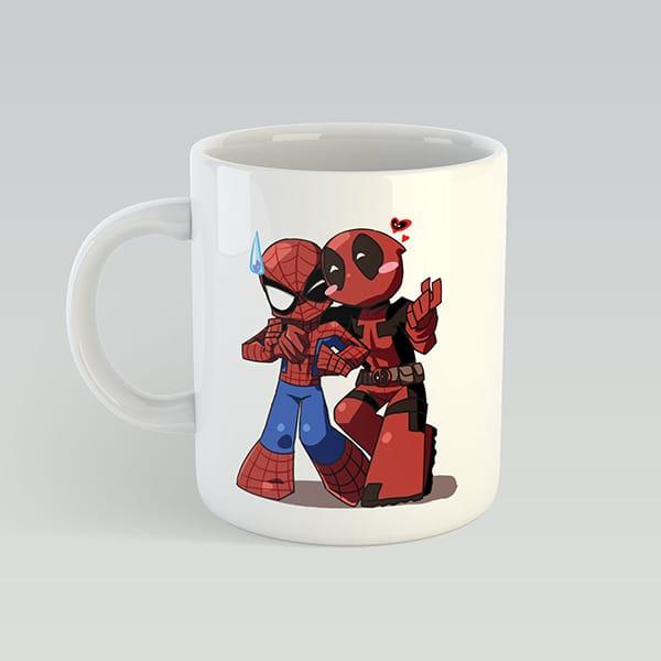 Чашка с принтом мультяшные Спайдермен и Дедпул