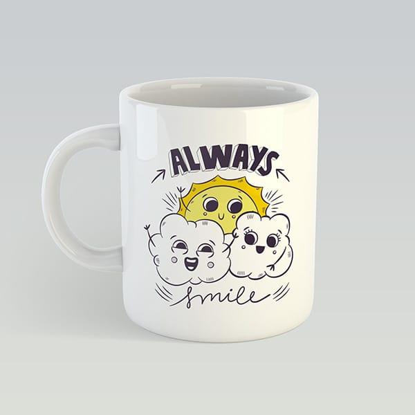 Чашка с принтом на подарок с солнышком и тучками