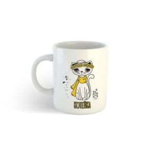 Чашка з принтом біла з кішкою і написом коте