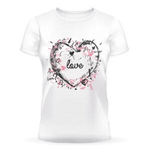 Белая футболка с принтом в виде сердца на подарок