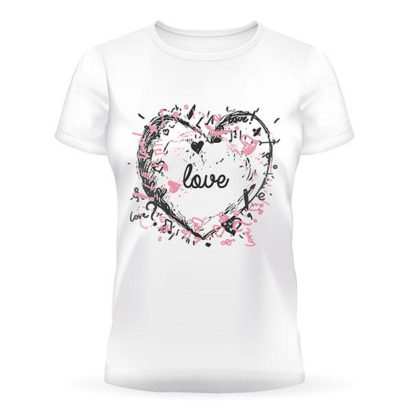 Біла футболка з принтом у вигляді серця на подарунок